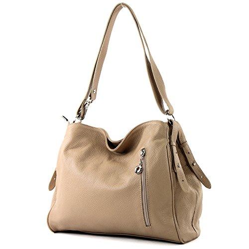 ModaModa de-Ital. T119 Bolso bandolera de piel para mujer, de hombro, bolso de piel marrón, amarillo