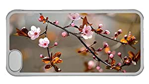 Cheap iphone cases fun Pink cherry flowers bloom leaves nature blur background PC Transparent for Apple iPhone 5C