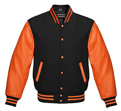 Men's Authentic American Varsity Letterman Jacket Black Wool & Genuine Orange Leather Sleeves (Football Leather Jacket)