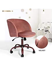 Innovareds Velvet Fabric Swivel Office Desk Chair Height Adjustable Dining/Office Chair with Back/Arm Support - Rose