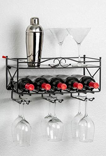 - Mango Steam Wall-Mounted Wine Rack with Shelf and Stemware Glass Holder