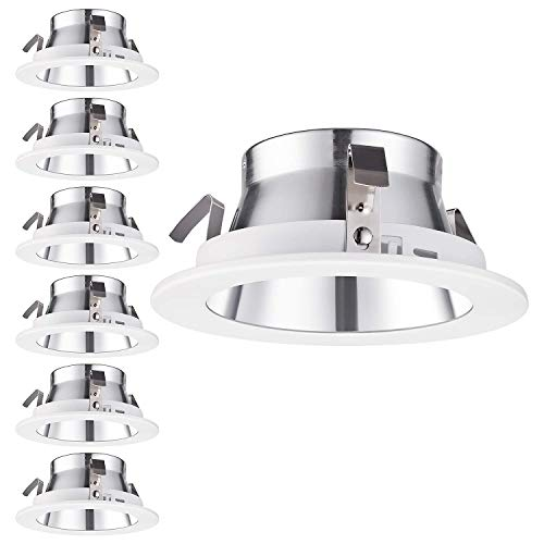 """TORCHSTAR 4inch Recessed Can Light Trim, Aluminum Reflector, for PAR20, R20 Light Bulbs, for 4"""" Recessed Cans, Halo/Juno Remodel Recessed Housing, 6 ()"""