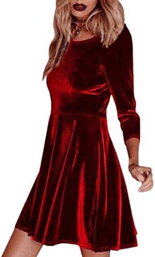 Womens Velvet Party Cocktail Mini Dress Ladies Winter Long Sleeve Skater Dress U