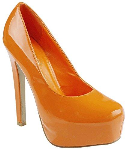 Womens Candy Color Patent PU Platform Stiletto High Heel Pump Shoes Orange