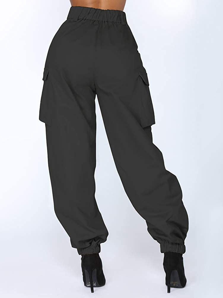 Landove Pantalon con Cadena y Bolsillos Mujer Hip Hop Cargo Pants
