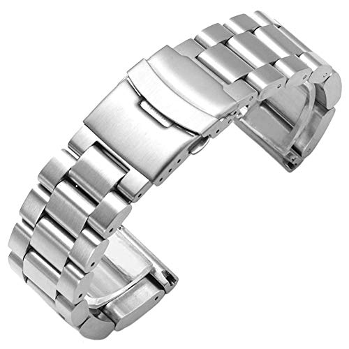 (22mm Super Thick and Heavy Stainless Steel Watch Band Brushed Silver Metal Strap Bracelet with Deployment Diver Clasp)