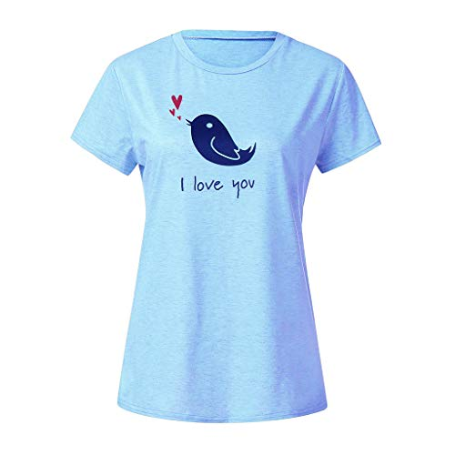 Tantisy ♣↭♣ Family Matching Outfits ✿ Mommy and Girl Bird Print I Love You Short Sleeve T-Shirts Parent-Child Tops Light Blue