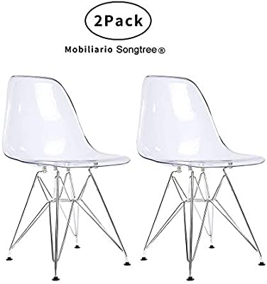 Songtree - 2 * Sillas Comedor Moderna Color Transparente Cristal para Casa Sala Restaurante Bar