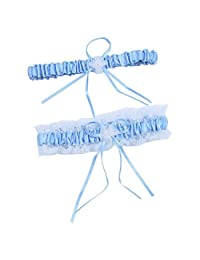 JustMyDress Wedding Bride Garter Belt Girls Legs Garter Satin Bow and lace Belt with Beads JW01
