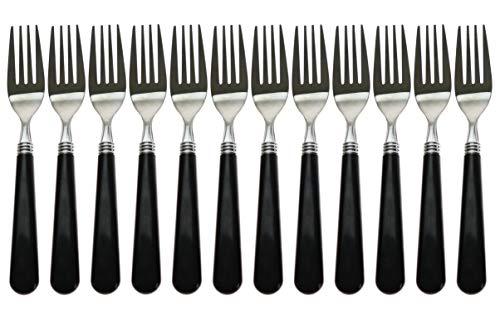 "Handi-Ware Multipack Bistro Style Bulk Mirror Polish 7.6"" Stainless Steel Forks (Black, 12)"
