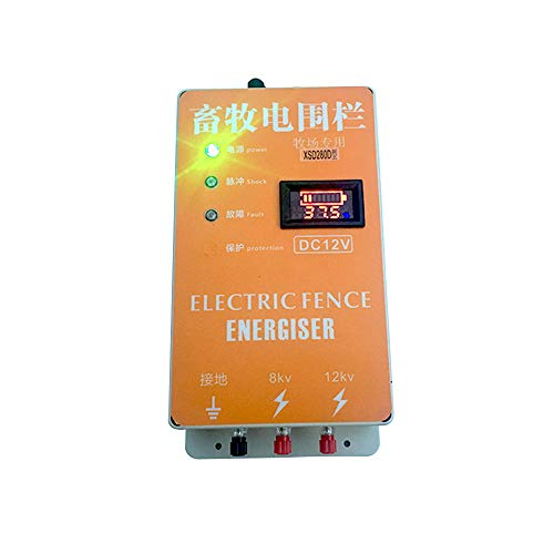 Pengxuehuang 5KM Electric Fence Energizer Charger Waterproof Anti-dust Animals Electric Fencing Controller with Voltage Display for Farm