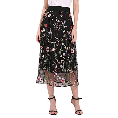 Women Mesh Skirt Embroidered Skirt Lace Midi Skirt Floral Hollow Out Long Dresses Maxi Skirt Elastic Waist Long Skirt Black