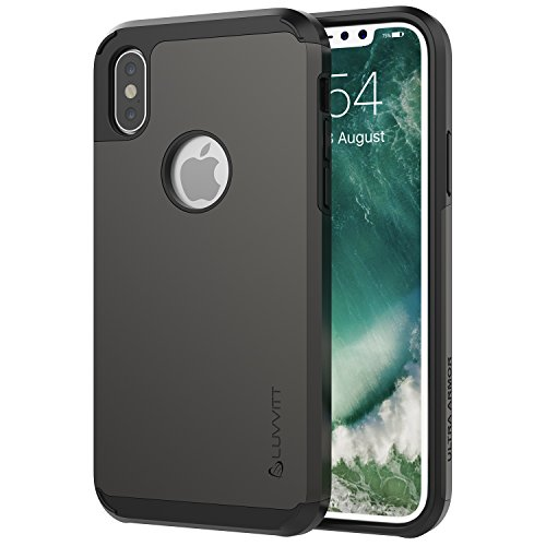 Luvvitt Ultra Armor Case with Dual Layer Heavy Duty Protection and Air Bounce Technology for iPhone X 10 (2017) - Gunmetal