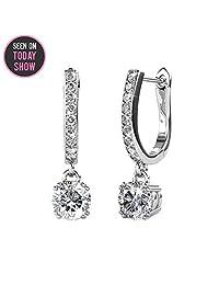 Cate & Chloe McKenzie 18k White Gold Swarovski Earrings, Solitaire Crystal Dangling Earrings, Best Silver Drop Earrings for Women, Special-Occasion-Jewelry Channel Set Horseshoe Earrings MSRP $136