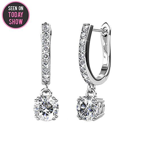 Cate & Chloe McKenzie 18k White Gold plated brass with Swarovski Solitaire Crystals Dangle Channel Set Drop Horseshoe - Drop Solitaire Earrings