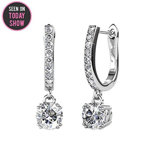 Cate & Chloe McKenzie 18k White Gold Dangling Earrings Swarovski Crystals, Solitaire Crystal Dangle Earrings, Best Silver Drop Earrings Women, Channel Set Drop Horseshoe Earrings MSRP $136