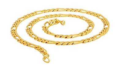 8b02669589c Image Unavailable. Image not available for. Colour: Saizen Dazzling Yellow  Metal Gold Figaro Chain for Men ...