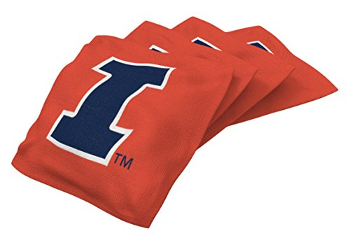 Wild Sports NCAA College Illinois Illini Orange Authentic Cornhole Bean Bag Set (4 Pack) - Illinois Fighting Illini Bean Bag