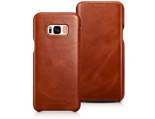 Samsung Galaxy S8 Leather Case - Genuine Leather Vintage Folding Flip Case with Magnetic Closure - Protective Cover for Galaxy S8 5.8 Inch