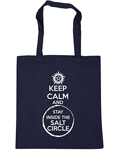HippoWarehouse Keep Calm And Stay Inside The Salt Circle Tote Shopping Gym Beach Bag 42cm x38cm, 10 litres French Navy