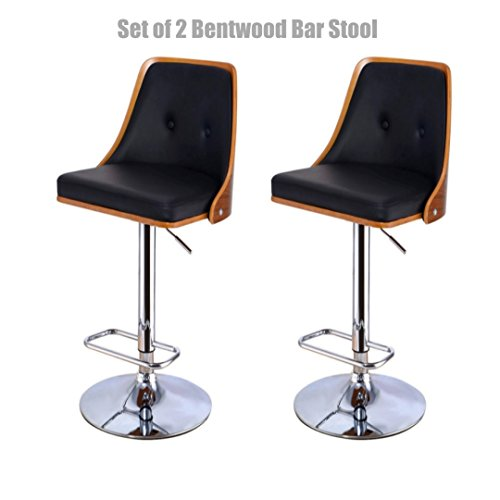 Contemporary Bentwood Bar Stool Adjustable Height 360 Degree Swivel Durable Button Tufted Design PU Leather Upholstery Seat Stable Footrest Chrome Steel Frame Pub Chair - Set of 2 - Canada Tax Sales Toronto