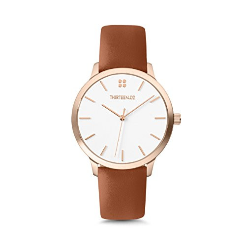 THIRTEEN.02 Rose Gold Watches for Women, Brown Leather Watch Band, White Dial, Stainless Steel, Boyfriend Watch - Mockingbird Lane