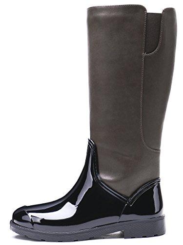 TONGPU Womens Mid Calf Boots Zipper Closre Patchwork Outdoor Rain Footwear Brown eGNklrC