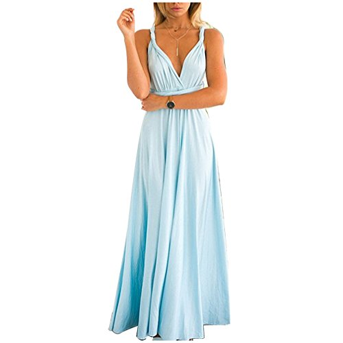 JET-BOND Infinity Night Dress Multi-Way Wrap Camisoles Halter Floor Long Dress High Elasticity FS41 (S, Light blue)