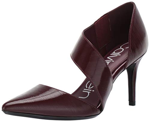 Calvin Klein Women's Gella Dress Pump, Bordeaux leather, 9 M US
