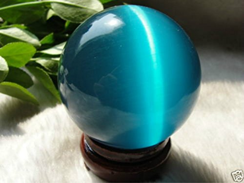 (AAA+++ Hot Sell ASIAN QUARTZ BLUE CAT EYE CRYSTAL BALL SPHERE 60MM + STAND)