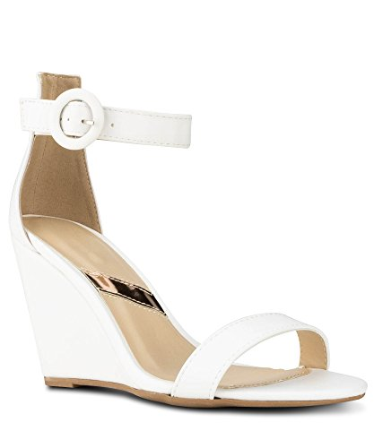 RF ROOM OF FASHION Women's Summer Ankle Strap Mid Wedge Sandals | Open Toe Platform Low Heel Pumps Shoes - White (10)