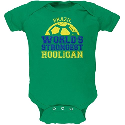 Old Glory World Cup World's Strongest Hooligan Brazil Soft Baby One Piece Kelly Green 18-24 (Hooligan One Piece)
