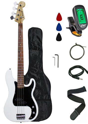 Crescent Electric Bass Guitar Starter Kit - White Color (Includes CrescentTM Digital E-Tuner)
