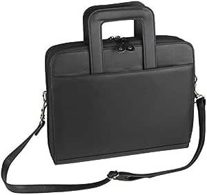 """Leatherette 3-Ring Binder Folder Portfolio Organizer Planner w/Briefcase Smart Handle, File Holder Cabinet Divider Luggage Brief (Black-1"""" Ring (Ogr7131)_)"""