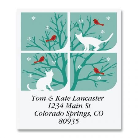 Snow Cats Square Christmas Address Labels - Set of 144 1-1/2 x 1-3/4 Self-Adhesive, Flat-Sheet holiday ()