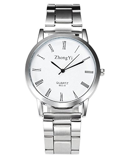 Top Plaza Mens Classic Silver Metal Analog Quartz Wrist Watch Simple Design Roman Numeral Scale (Watch Silver Metal Round)
