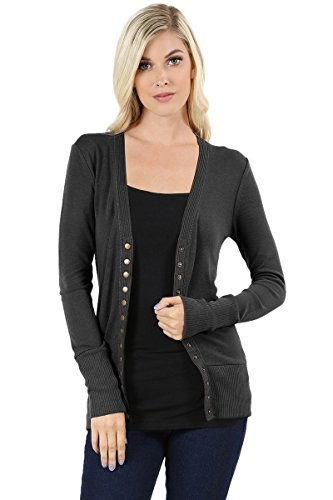 Sportoli Womens Long Sleeve Knit Snap Button Sweater Cardigan Regular & Plus - Ash Grey (Size 1X)
