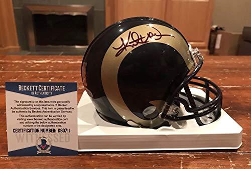 Kurt Warner Autographed Signed St Louis Rams Riddell Mini Helmet Witness Signature - Beckett Authentic