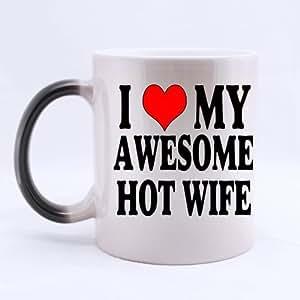 I Love My impresionante caliente esposa taza de cambio de color tazas de café taza Morphing–ml tamaños, impresionante taza de regalo romántico para los amantes/mujer/el día de San Valentín