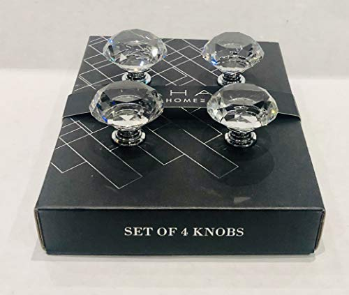 Tahari Home Set of 4 Drawer KNOBS Pull Mirror Crystal Glass Round ()
