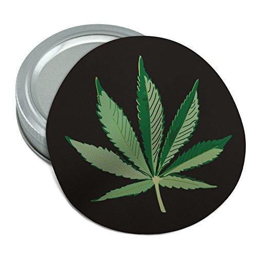 (Marijuana Pot Weed Leaf Bud Ganja Green Mary Jane on Black Round Rubber Non-Slip Jar Gripper Lid Opener)