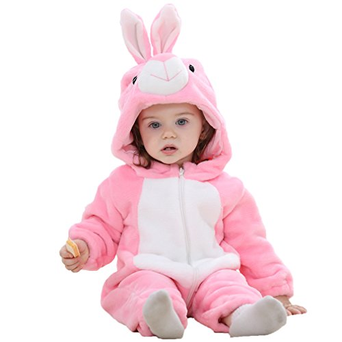 (IDGIRL Baby Bunny Costume, Animal Rabbit Cosplay Pajamas for Girl Winter Flannel Romper Outfit 12-18 Months, Pink One)