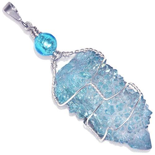 Puppy Love Jewelry Aqua Aura Spirit Cactus Quartz Crystal Handmade Pendant (Aura Crystal Aqua Pendant Quartz)