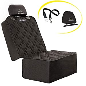 Meadowlark Car Seat Cover for Dogs. Premium Extra Thick Quilted Full Protection Front Seat Protector,Side Flaps, Waterproof, Durable, Nonslip Design, Free Bonus- Pet Seat Belt & Headrest Protector