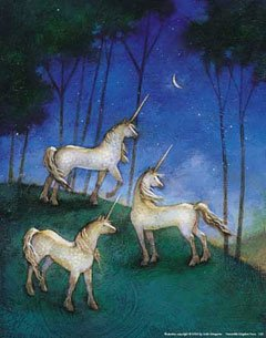 Peaceable Kingdom Poster Print - 123Posters (11 x 14) Linda Wingerter art print Unicorns at Night
