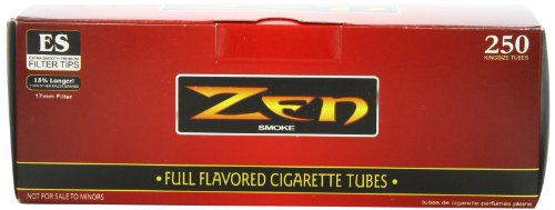 Cigarette Filter Tubes - 1 Box - 250pc Zen King Size Full Flavor Cigarette Tubes
