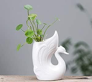 Mopoq Simple creative swan ceramic flower pot succulent flower pot European-style office desktop small decorative ornaments DIY living room balcony hydroponic small vase