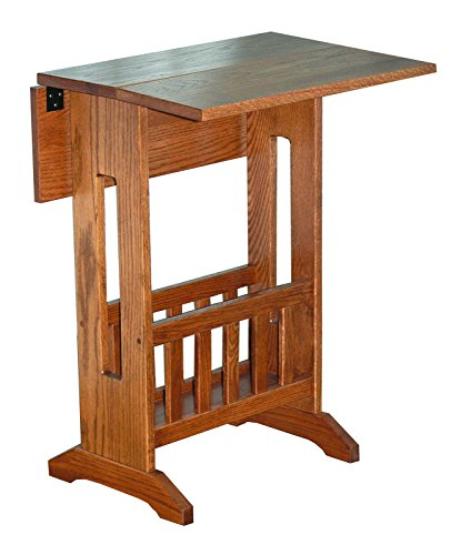 Mission Style Double Drop Leaf Oak Accent Table with Storage Rack - Amish Made in USA