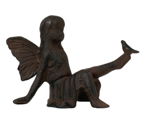Cast Iron Sitting Angel W Bird Cherub Garden Statue Fairy