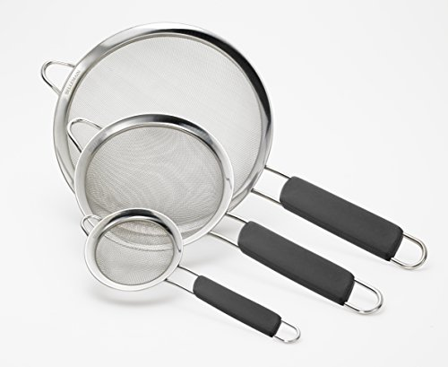 Bellemain Stainless Steel Mesh Strainers, Set of 3 Graduated Sizes with Comfortable Non Slip Handles